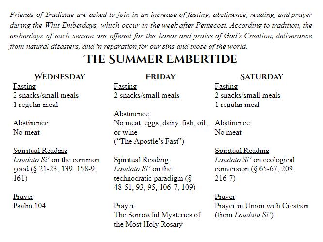 Summer Embertide Practices